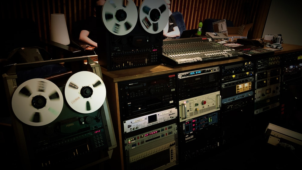 Skepticism remixing Stormcrowfleet album in Astia-studio A control room.