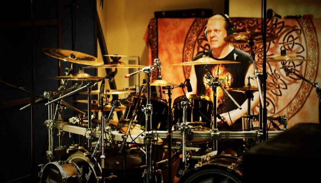 Janne Parviainen in Astia-studio A drum room with Ensiferum