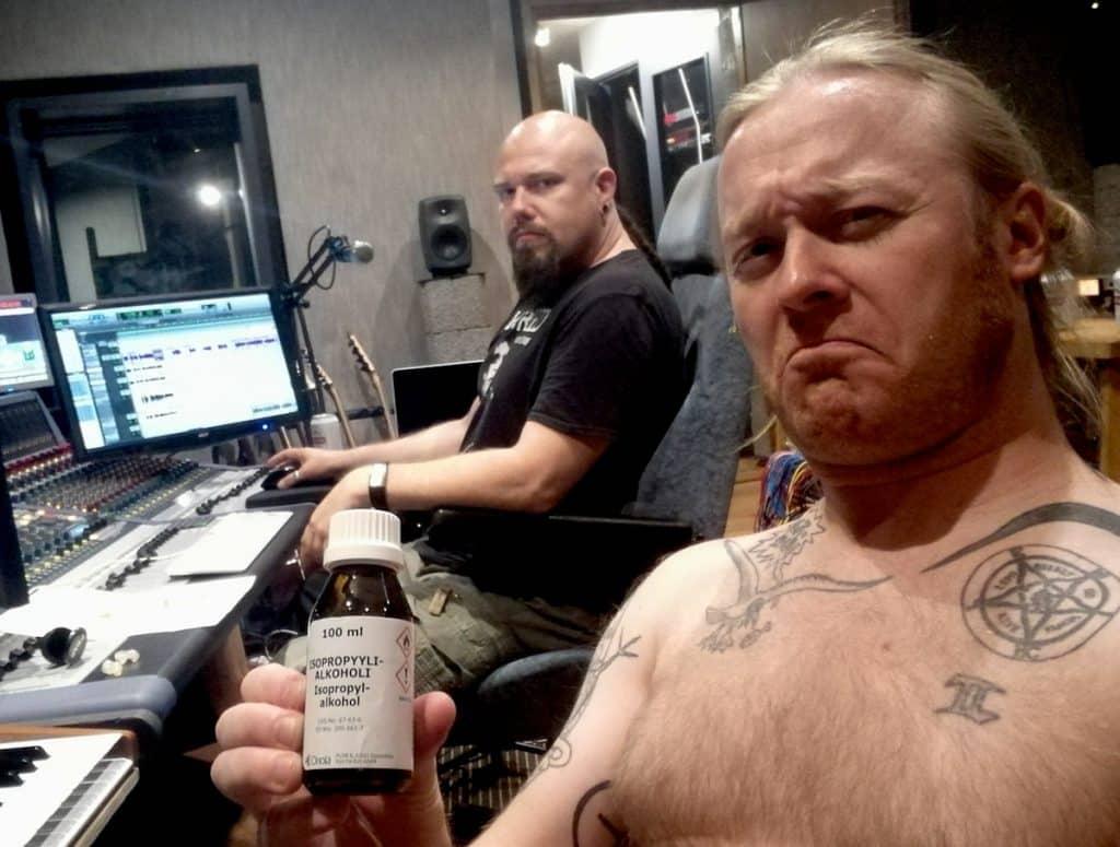 """Antti """"Hyrde"""" Hyyrynen with Janne Joutsenniemi in SF Sound Studio"""