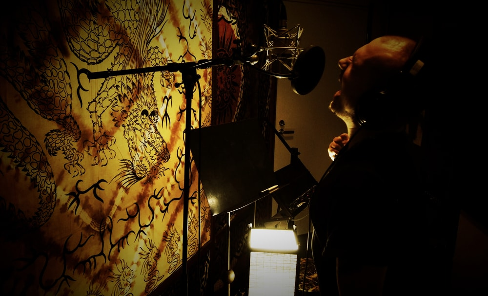 Juho Koski from Spell Of Torment in Astia-studio vocal booth
