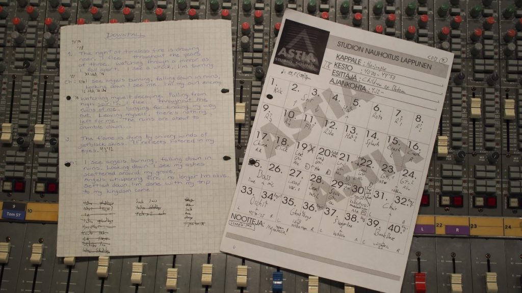 Hatebreeder –Downfall lyrics and track sheet from the Astia-studio archive in 1998